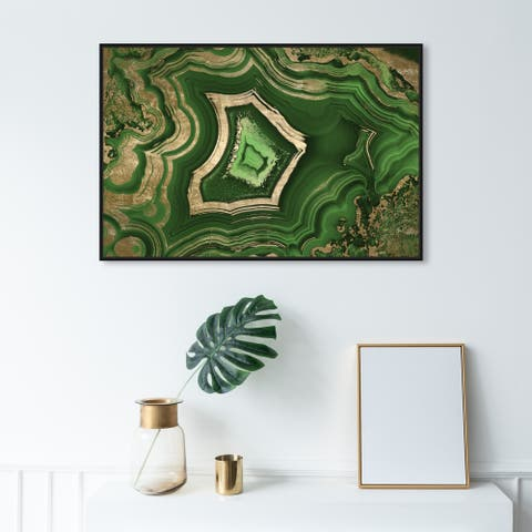 Oliver Gal Abstract Wall Art Framed Canvas Prints 'Dreaming About Emerald' Crystals - Green, Gold