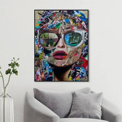 Oliver Gal Fashion and Glam Wall Art Framed Canvas Prints 'Timing is Everything by Katy Hirschfeld' Portraits - Blue, Brown