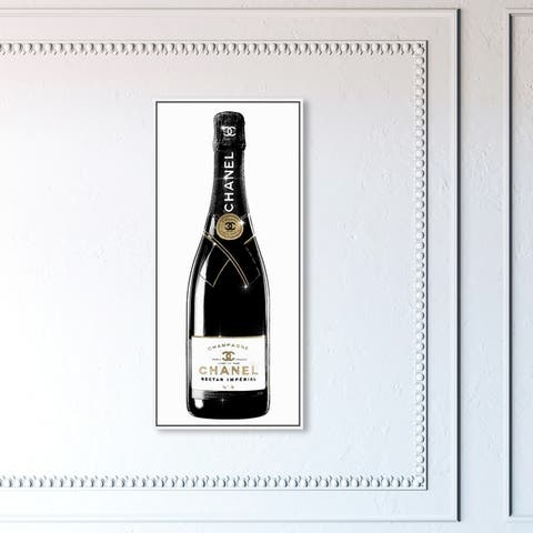 Oliver Gal Drinks and Spirits Wall Art Framed Canvas Prints 'One of A Kind Champagne Tall' Champagne - Black, Gold