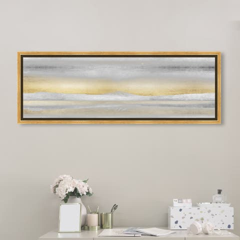 Oliver Gal Abstract Wall Art Framed Canvas Prints 'Love Has Awaken' Textures - Gray, Gold