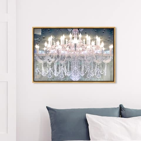 Oliver Gal Fashion and Glam Wall Art Framed Canvas Prints 'Day and Night' Chandeliers - White, Pink
