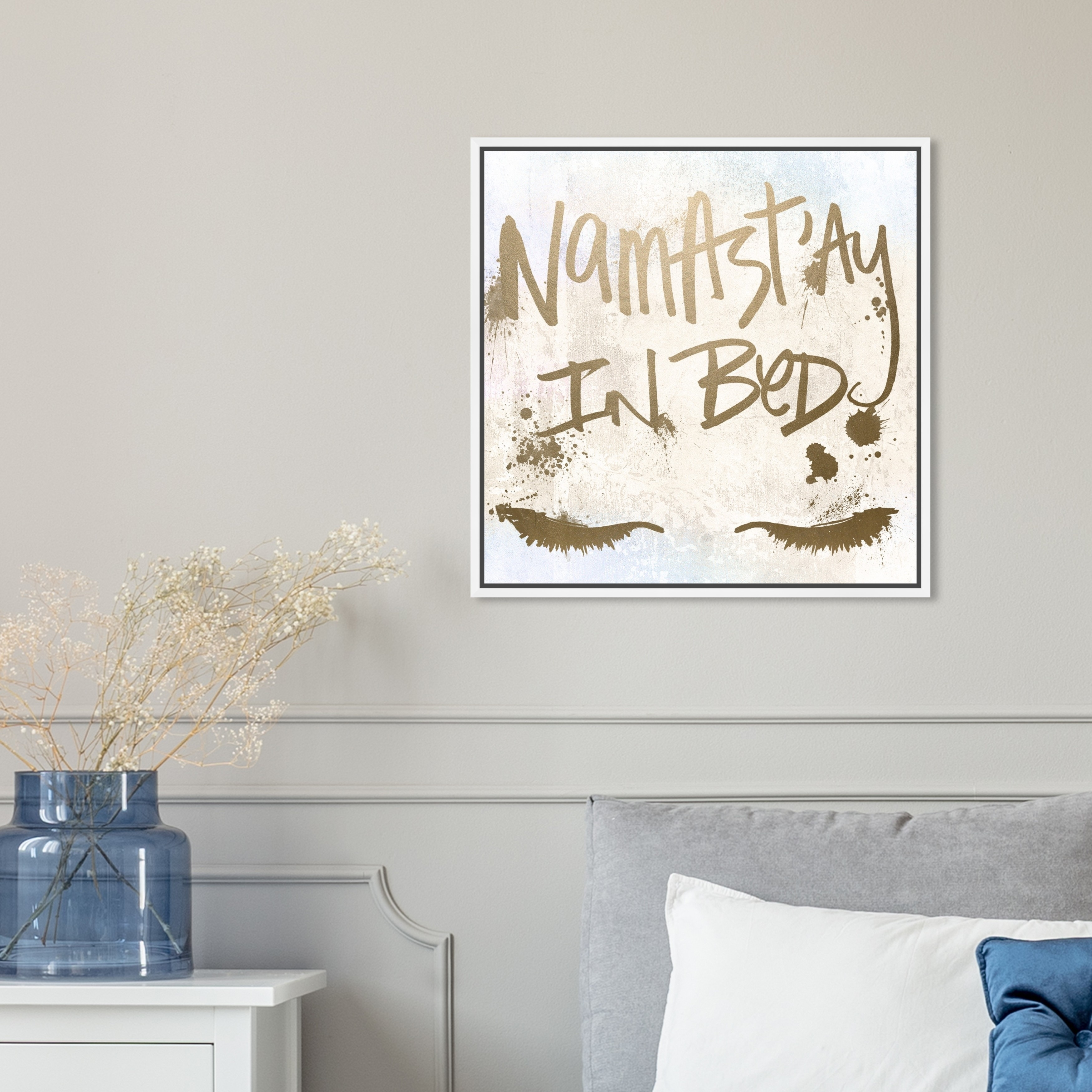 Shop Oliver Gal Typography And Quotes Wall Art Framed Canvas Prints Namastay In Bed Inspirational Quotes And Sayings Gold Yellow Overstock 30896339