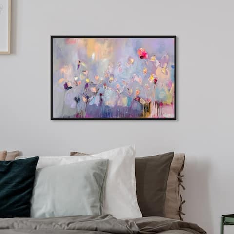 Oliver Gal Abstract Wall Art Framed Canvas Prints 'Michaela Nessim - Infinitely Divine' Paint - Purple, Pink