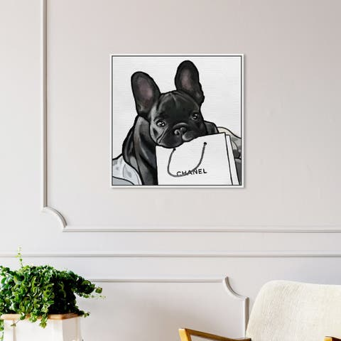 Oliver Gal Animals Wall Art Framed Canvas Prints 'French French French' Dogs and Puppies - Black, White