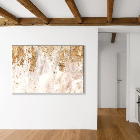 Oliver Gal Abstract Wall Art Framed Canvas Prints 'Star Light' Textures - Gold, White