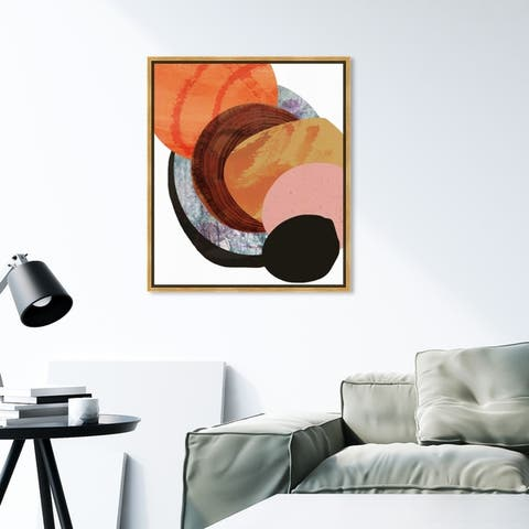 Oliver Gal Abstract Wall Art Framed Canvas Prints 'Bonfire' Paint - Orange, Brown