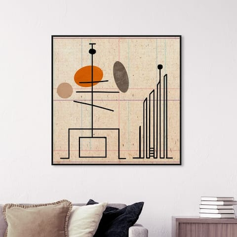 Oliver Gal Abstract Wall Art Framed Canvas Prints 'Malabares' Geometric - Orange, Brown