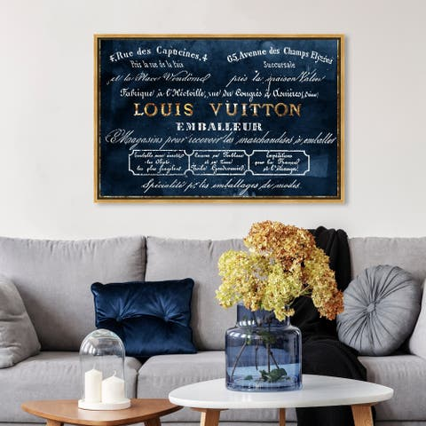 Oliver Gal Fashion and Glam Wall Art Framed Canvas Prints 'Emballeur Navy' Road Signs - Blue, Gold