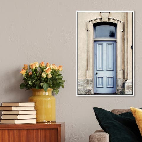 Oliver Gal Architecture and Buildings Wall Art Framed Canvas Prints 'The Lovely Blue Door' World Architecture - Blue, Brown