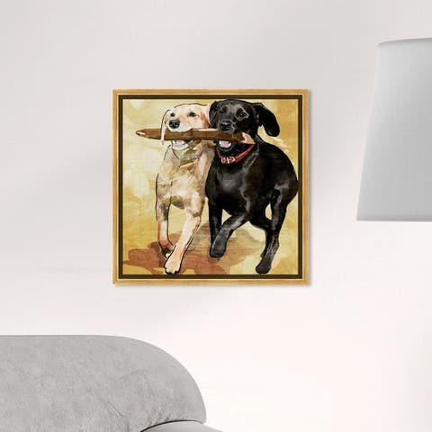 Oliver Gal Animals Wall Art Framed Canvas Prints 'Playtime' Dogs and Puppies - Black, Brown