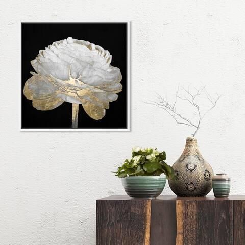 Oliver Gal Floral and Botanical Wall Art Framed Canvas Prints 'Gold and Light Floral II' Florals - Black, White