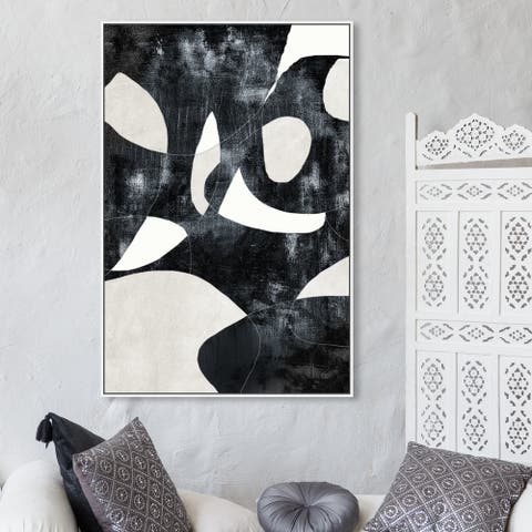 Oliver Gal Abstract Wall Art Framed Canvas Prints 'All Of Me' Geometric - Black, White