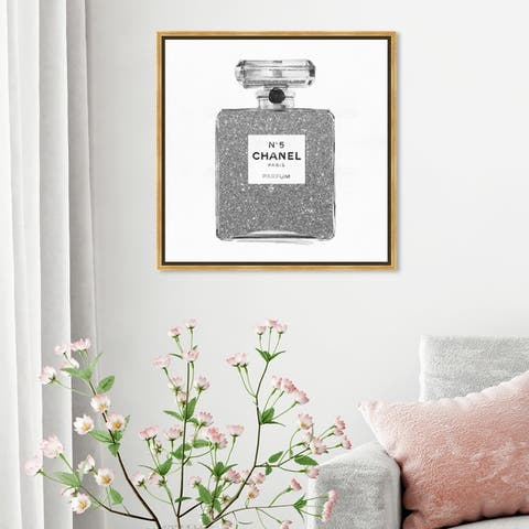 Oliver Gal Fashion and Glam Wall Art Framed Canvas Prints 'Silver Classic Number 5' Perfumes - Gray, White