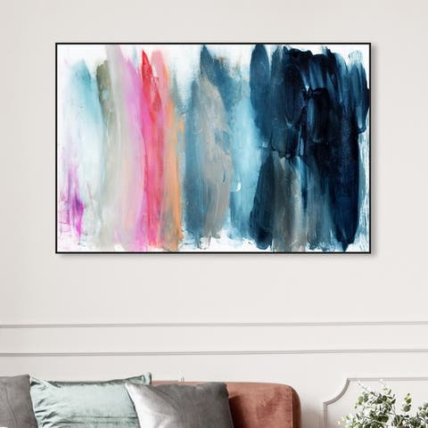 Oliver Gal Abstract Wall Art Framed Canvas Prints 'Parque del Retiro' Paint - Blue, Pink