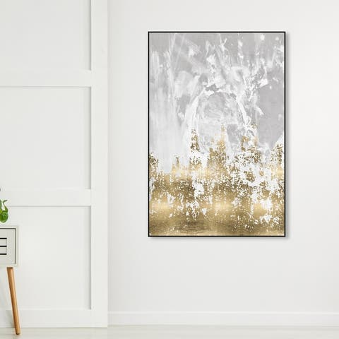 Oliver Gal Abstract Wall Art Framed Canvas Prints 'Our Moment' Paint - Gold, Gray