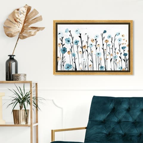 Oliver Gal Floral and Botanical Wall Art Framed Canvas Prints 'Beautiful Growth' Florals - Blue, White