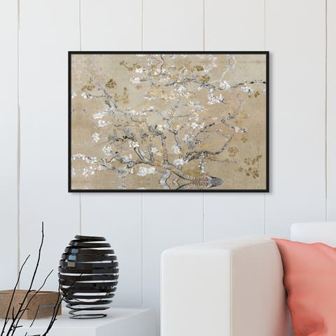 Oliver Gal Classic Wall Art Framed Canvas Prints 'Van Gogh in Gold Blossoms Inspiration' Impressionism - Gold, Gray