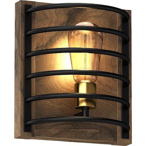 Volume Lighting 1-Light Indoor Bronze & Walnut Industrial Wall Sconce