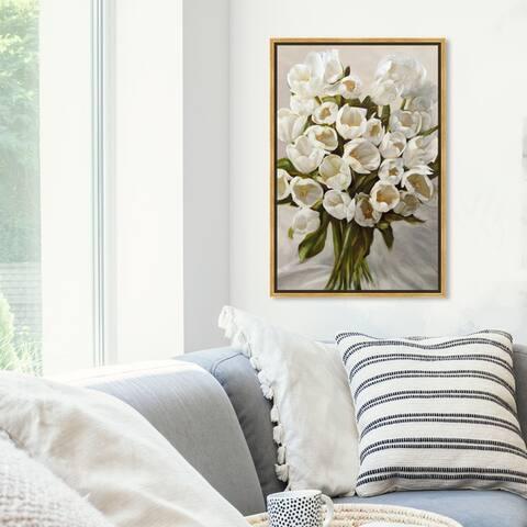 Oliver Gal Floral and Botanical Wall Art Framed Canvas Prints 'SAI - Elegant Tulips' Florals - White, Green