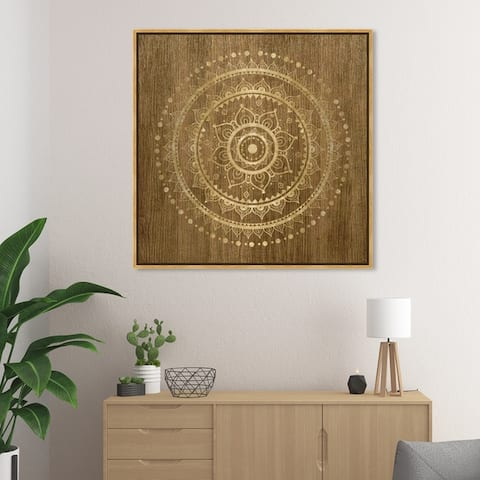 Oliver Gal Abstract Wall Art Framed Canvas Prints 'Mandala Foil and Natural Wood' Patterns - Brown, Gold