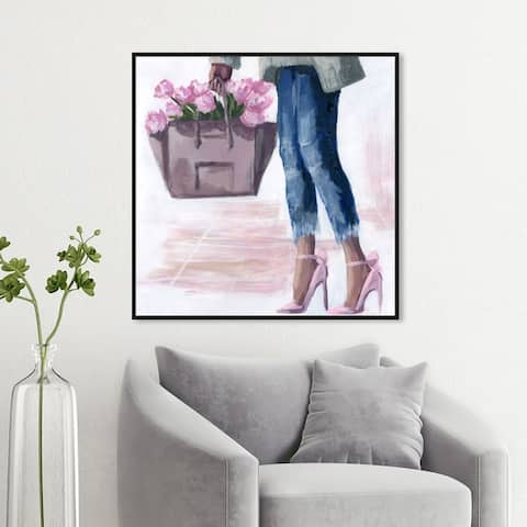 Oliver Gal Fashion and Glam Wall Art Framed Canvas Prints 'Picks From The Market' Outfits - Pink, Blue