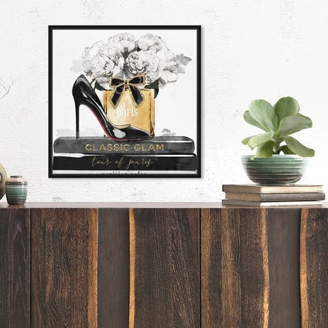 Oliver Gal Fashion and Glam Wall Art Framed Canvas Prints 'Glamorous Stack' Shoes - Black, Gold