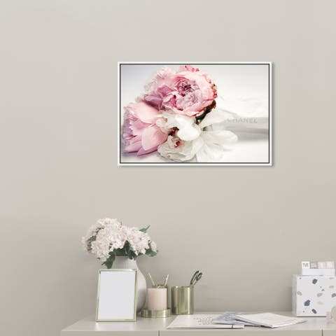 Oliver Gal Fashion and Glam Wall Art Framed Canvas Prints 'Peonies and Magnolia Love' Lifestyle - Pink, White