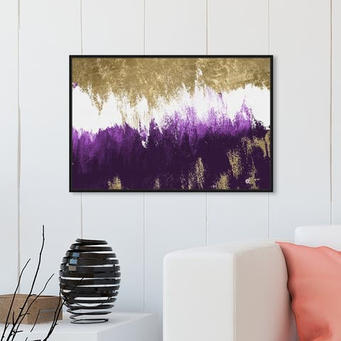 Oliver Gal Abstract Wall Art Framed Canvas Prints 'Adore Amethyst' Paint - Gold, Purple
