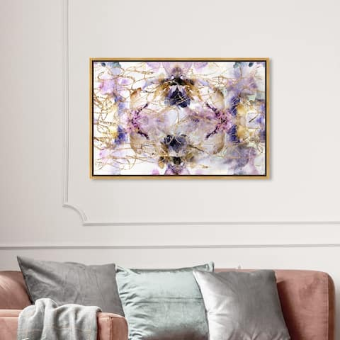 Oliver Gal Abstract Wall Art Framed Canvas Prints 'Her Own Way' Watercolor - Purple, Purple