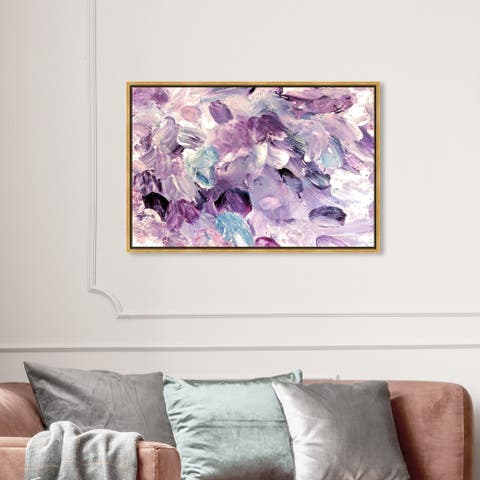Oliver Gal Abstract Wall Art Framed Canvas Prints 'Amethyst Gardens' Paint - Purple, Purple
