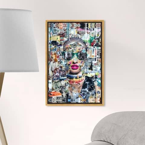 Oliver Gal Fashion and Glam Wall Art Framed Canvas Prints 'Katy Hirschfeld - LongNight' Portraits - Gray, Pink