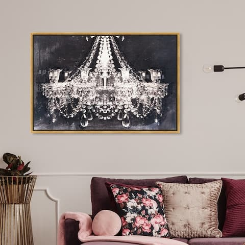 Oliver Gal Fashion and Glam Wall Art Framed Canvas Prints 'Dramatic Entrance Night 36x24' Chandeliers - White, Black