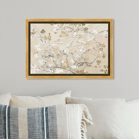 Oliver Gal Floral and Botanical Wall Art Framed Canvas Prints 'Van Gogh in Golden Blossoms Inspiration' Gardens - Gold, White