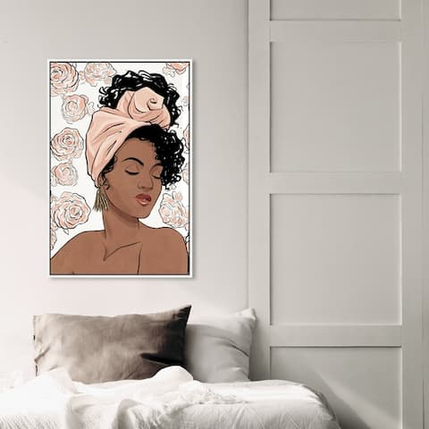 Oliver Gal Fashion and Glam Wall Art Framed Canvas Prints 'Flower Blush Girl' Portraits - Pink, Brown