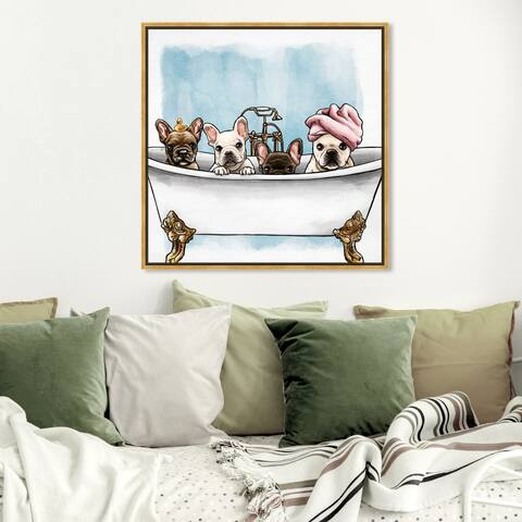 Oliver Gal Animals Wall Art Framed Canvas Prints 'Frenchies In The Tub' Dogs and Puppies - White, Blue