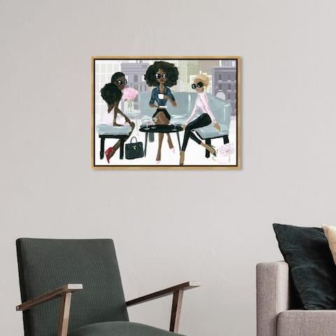 Oliver Gal Drinks and Spirits Wall Art Framed Canvas Prints 'Cocktail O'Clock' Cocktails - Pink, Gray