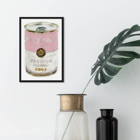 Oliver Gal Fashion and Glam Wall Art Framed Canvas Prints 'Fashion Soup Pink' Soup Can - Pink, White