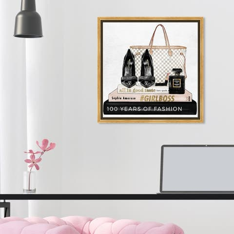 Oliver Gal Fashion and Glam Wall Art Framed Canvas Prints 'Going Out Books' Shoes - Black, Pink