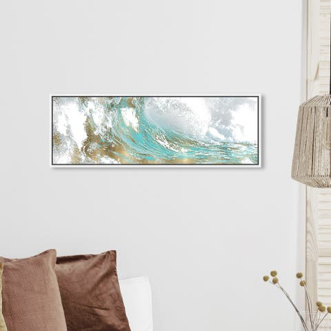 Oliver Gal Abstract Wall Art Framed Canvas Prints 'Wave in a Moment Aqua' Paint - Blue, Gold