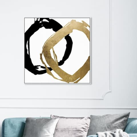 Oliver Gal Abstract Wall Art Framed Canvas Prints 'Equal' Shapes - White, Gold
