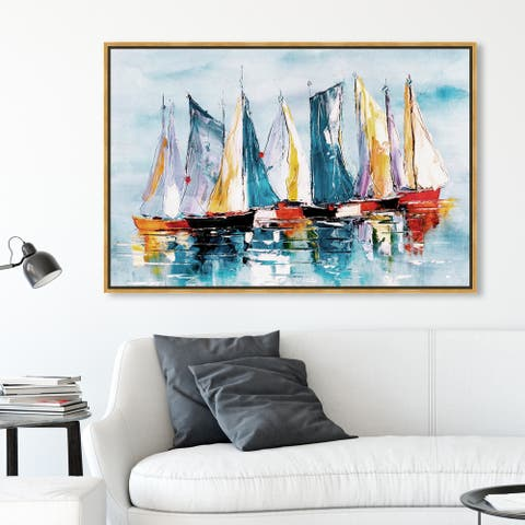 Oliver Gal Nautical and Coastal Wall Art Framed Canvas Prints 'Beautiful Boat Day' Nautical Watercrafts - Blue, Orange