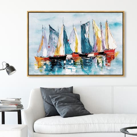 Oliver Gal Nautical and Coastal Wall Art Framed Canvas Prints 'Beautiful Boat Day' Nautical Watercrafts - Blue, Orange