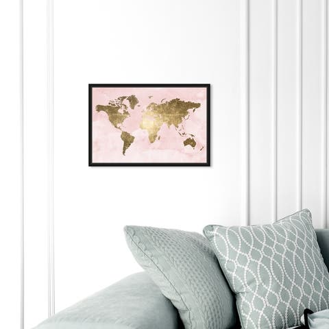 Oliver Gal Maps and Flags Wall Art Framed Canvas Prints 'Blush Mapamundi' World Maps - Pink, Gold