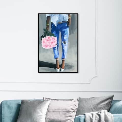 Oliver Gal Fashion and Glam Wall Art Framed Canvas Prints 'Me and My Bouquet' Outfits - Pink, Blue