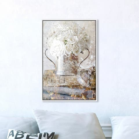 Oliver Gal Floral and Botanical Wall Art Framed Canvas Prints 'Romantic Roses' Florals - White, Gold