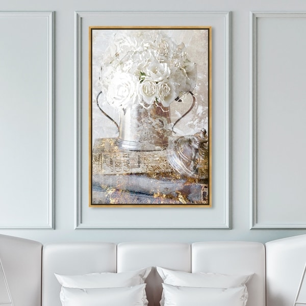 Oliver Gal Floral and Botanical Wall Art Framed Canvas Prints 'Romantic Roses' Florals - White, Gold. Opens flyout.