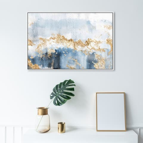 Oliver Gal Abstract Wall Art Framed Canvas Prints 'Eight Days a Week' Watercolor - Blue, Gold
