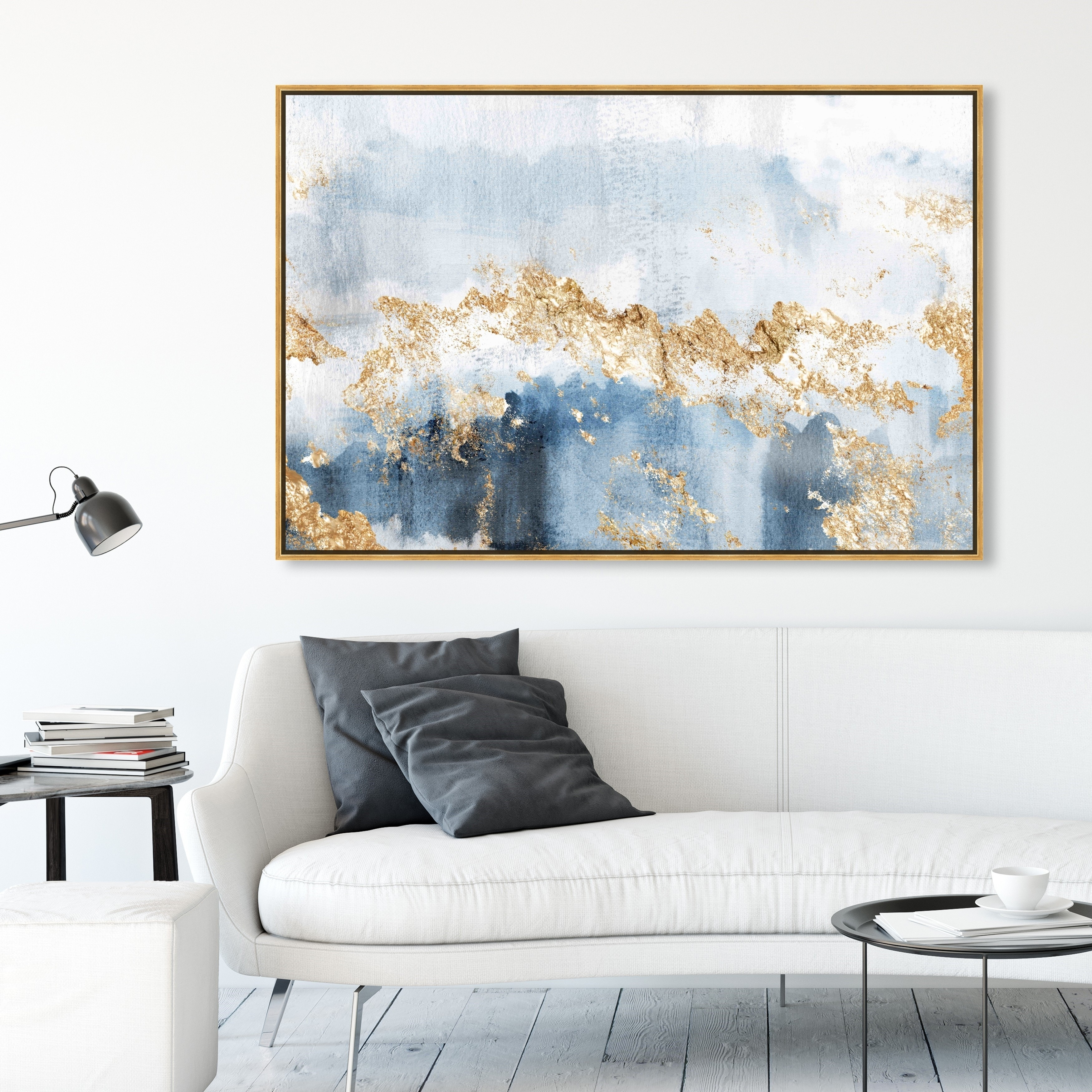 Oliver Gal Abstract Wall Art Framed Canvas Prints Eight Days A Week Watercolor Blue Gold Overstock 30897283