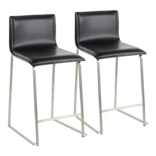 Mara 26 in. Contemporary Upholstered Counter Stool in Stainless Steel (Set of 2)