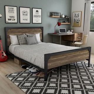 Link to Furniture of America Sabrina Industrial Reclaimed Oak Metal Panel Bed Similar Items in Bedroom Furniture